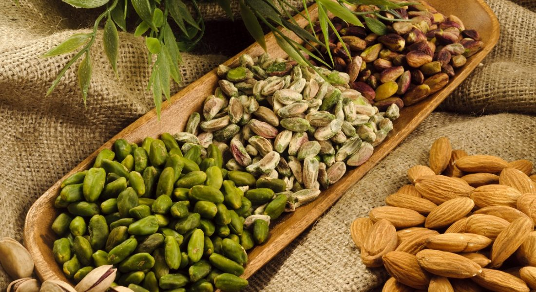 pistachios,almonds,walnuts and hazelnuts stillife